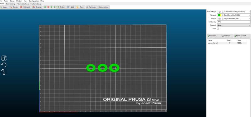 "Dobrania filamentu, parametrów druku i ""pokrojeniu"" modelu na gcode"