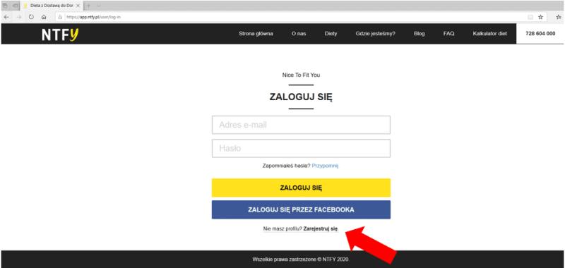 rejestracja nice to fit you aplikacja webowa