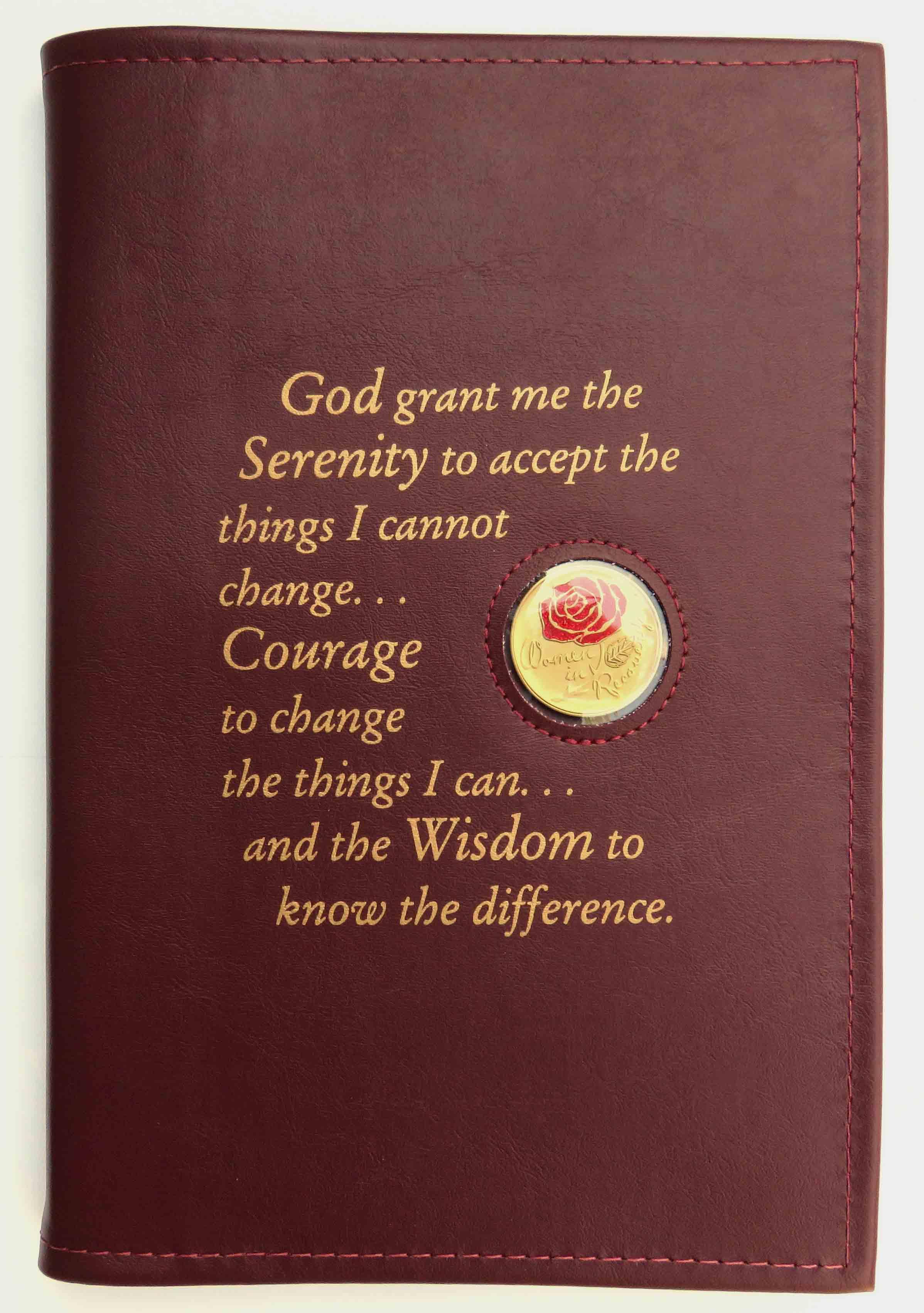 Large Print 12x12 Serenity Prayer Book Cover Burgundy