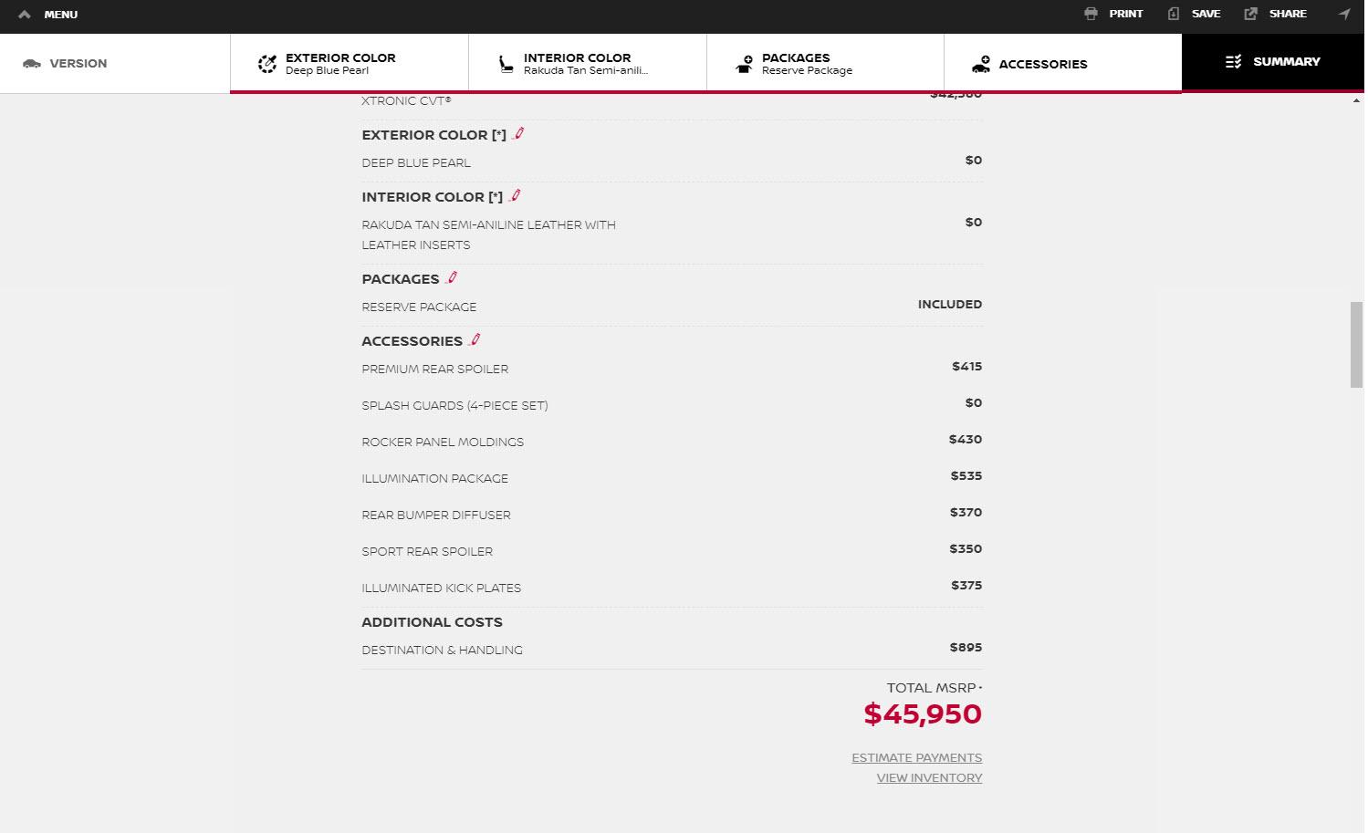 Nissan Maxima Ordering Options