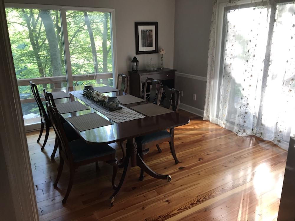 Dining room heart of pine wood flooring installed