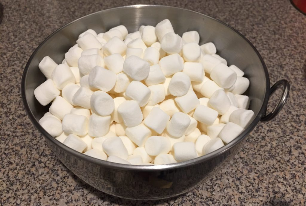Marshmallows in stainless bowl