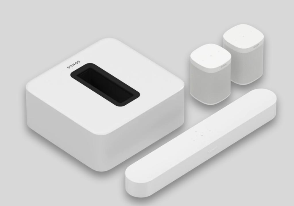 Sonos white 5.1 Surround Set with Sonos Beam Sub and One SL