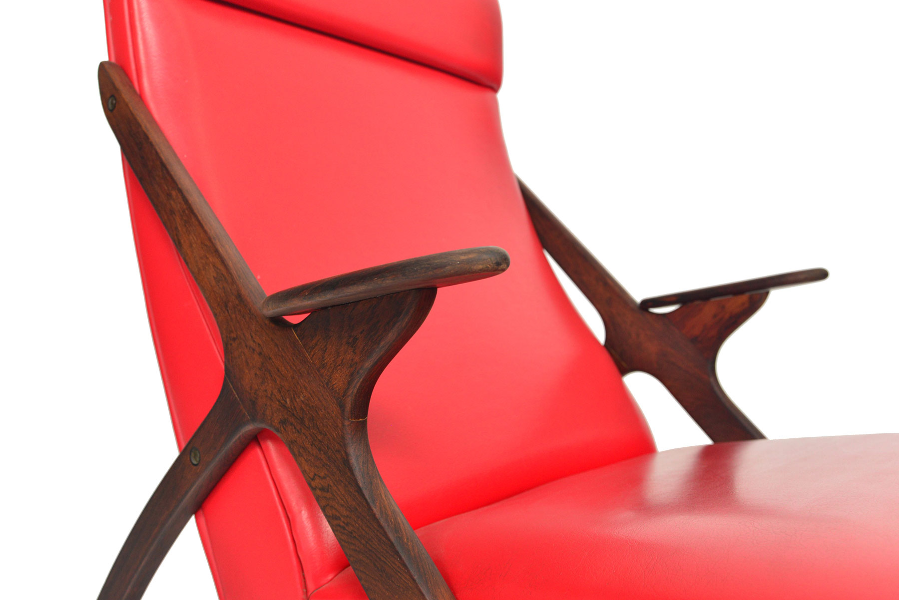 MCM Danish highback rocking chair in rosewood side close up