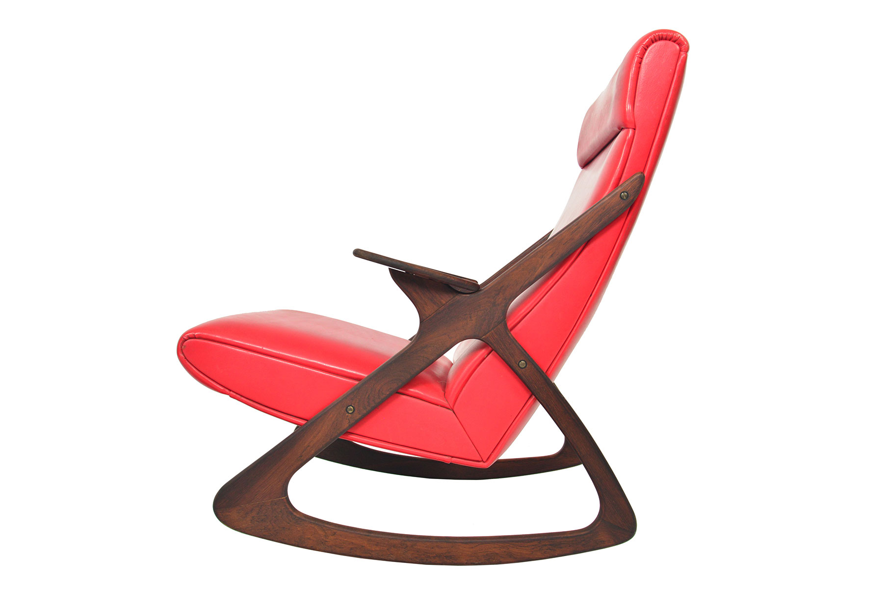 MCM Danish highback rocking chair in rosewood side