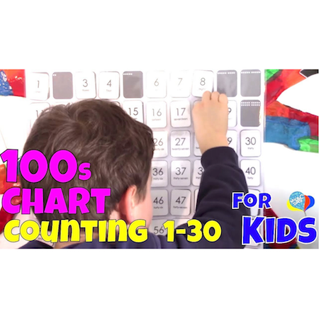 How To Count Numbers 1-30 For Kids | 100s Chart Math