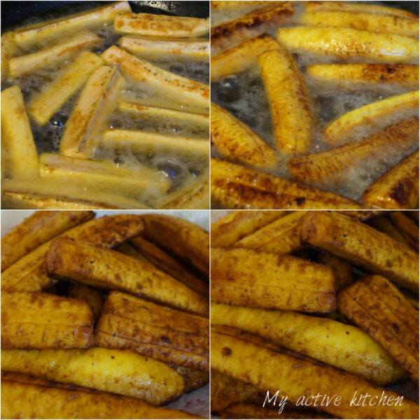 process shot of how to fry plantain.