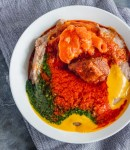 a bowl of gbegiri, amala and ewedu.