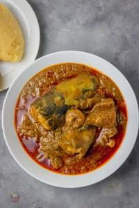 banga soup and eba.
