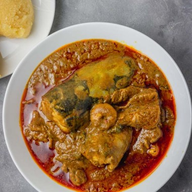 banga soup and eba.