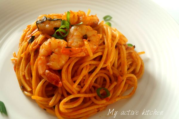 pasta and shrimps.
