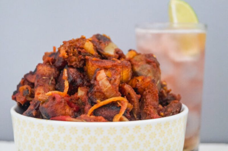 dodo gizzard in a bowl and a glass of shandy