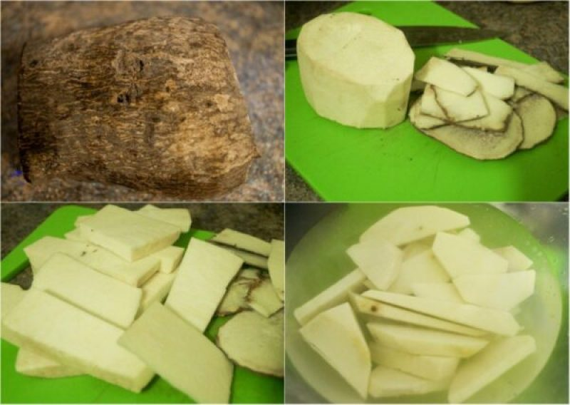 process of frying yam, from the peeling to cutting to size and soaking in water.