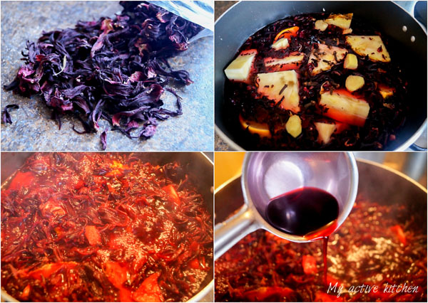 a collage image of how to make zobo drink. the images contains 4 collage with the image of dried hibiscus leaves, another image had the hibiscus leave boiling and steeping in a pot while the final image had a close shot of ready zobo dirink