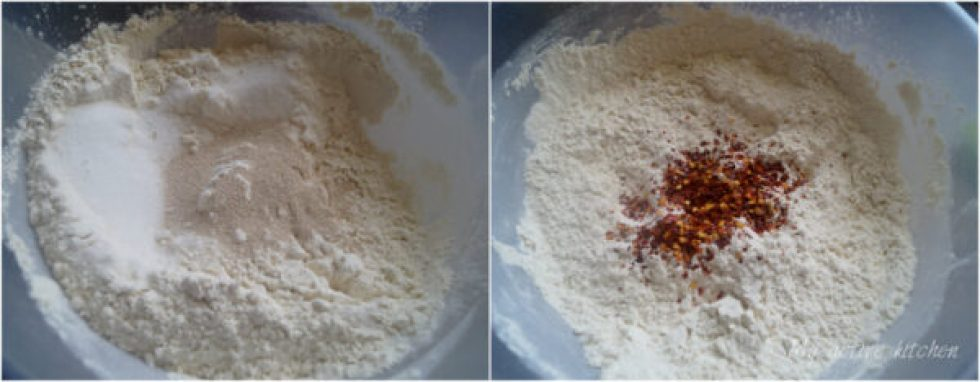 image collage, one picture have flour, yeast and sugar in it while the other bowl contained the same as bowl one but with chilli flakes
