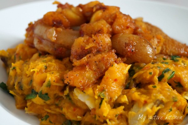 yam porridge (asaro) with peppered dodo and ponmo.
