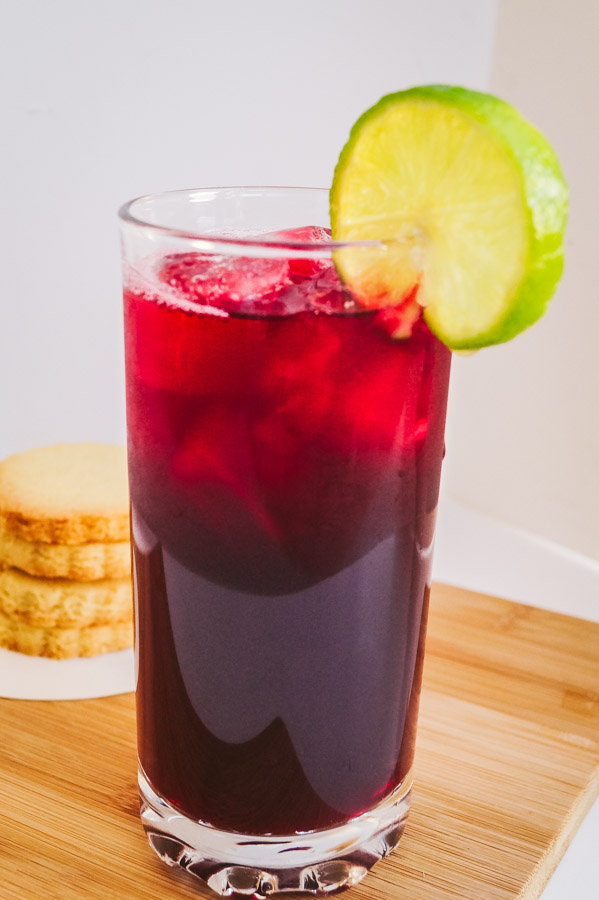 A side view of zobo drink in a glass