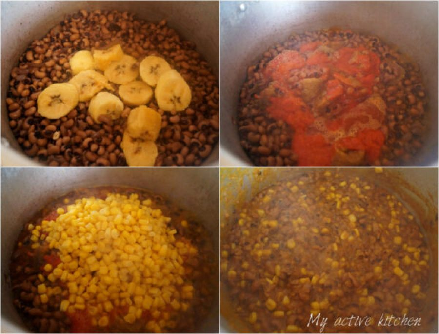 beans, plantain, sweet corn and pepper cooked together