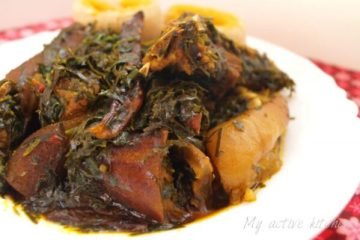 afang soup in a plate