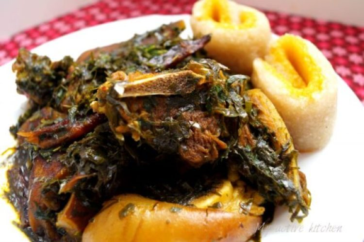 afang soup with two toned eba roll
