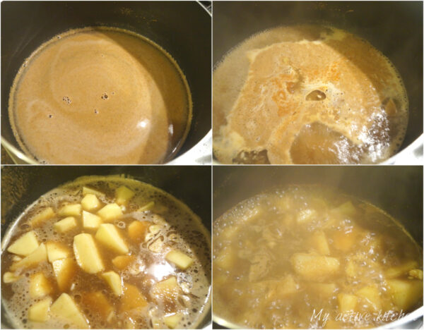 boiling sauce in a pan,
