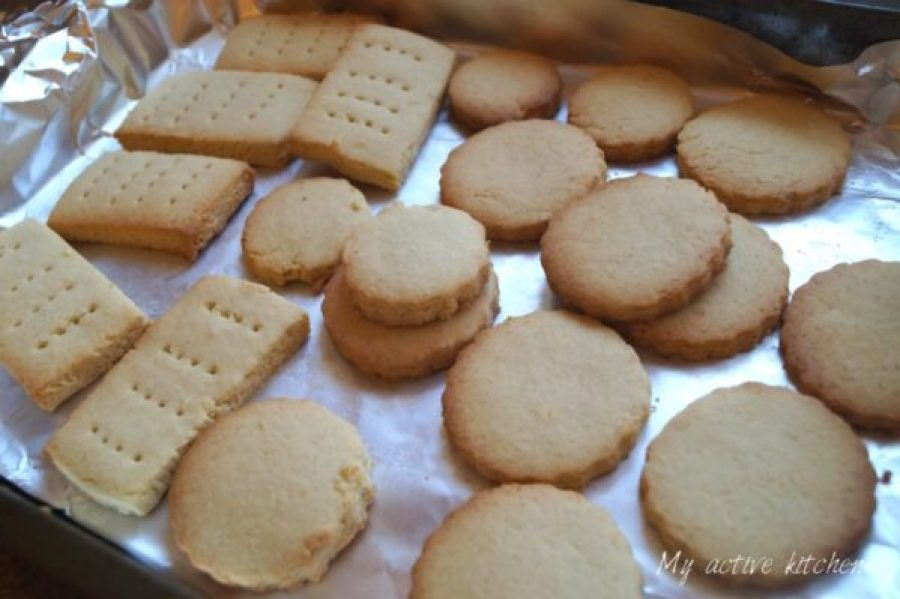 freshly baked coconut shortbread cookies.