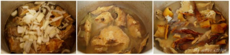 image of stock fish (panla) and ponmo in a pot