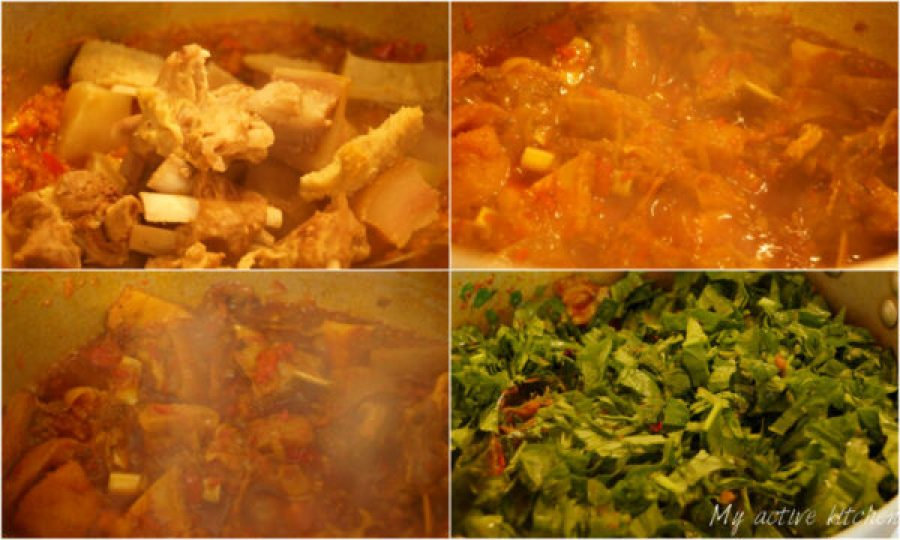 process shot of how to cook nigerian spinach stew. four images