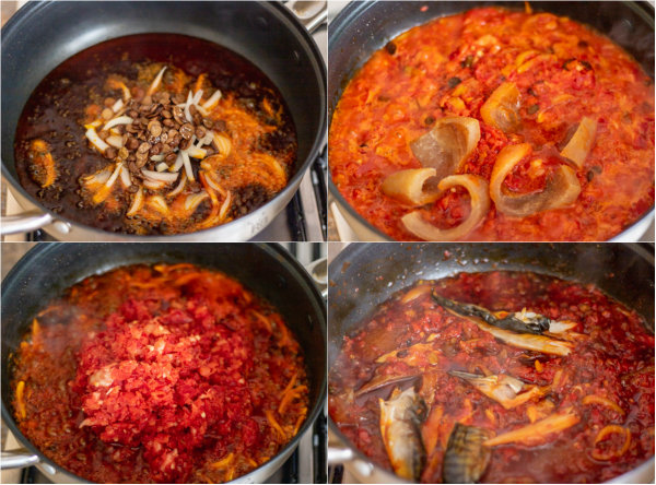 process shot of how to make efo riro.