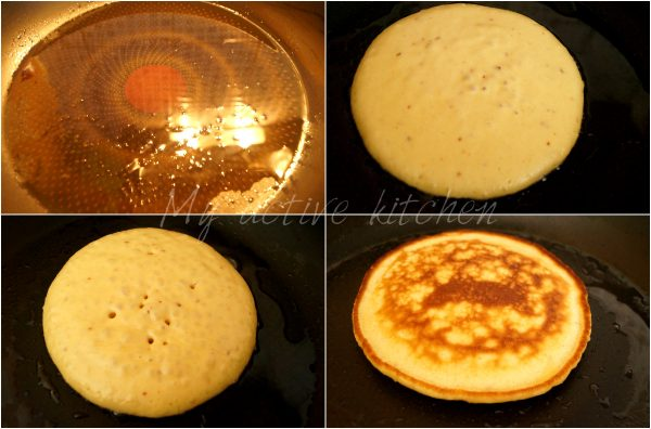 image collage of how to pan-cake