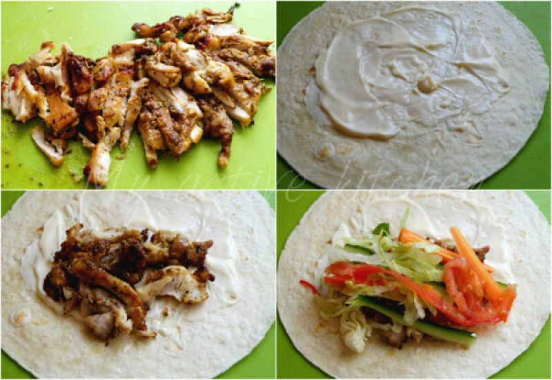 collage illustrating how to assemble chicken shawarma