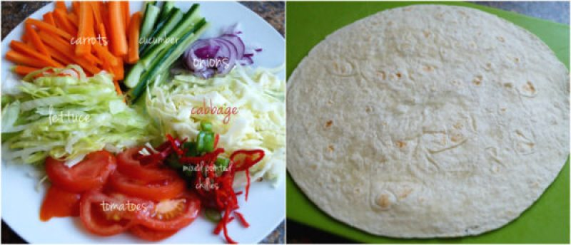 salad and tortilla wrap.