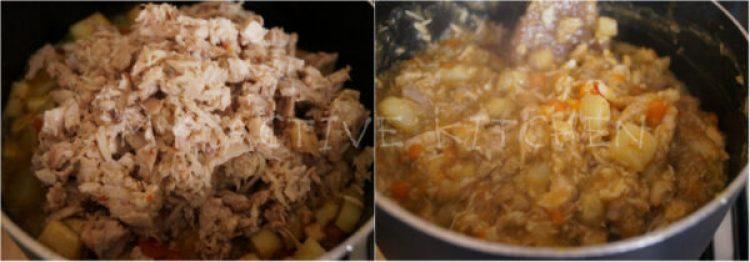 making chicken filling.