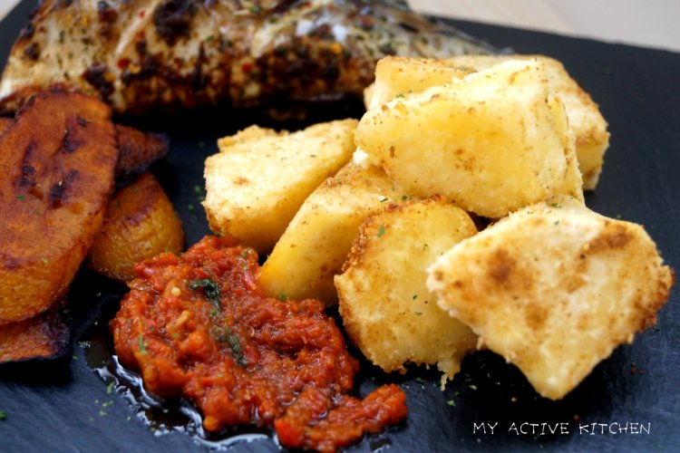 roasted yam, pepper sauce and fried plantain.