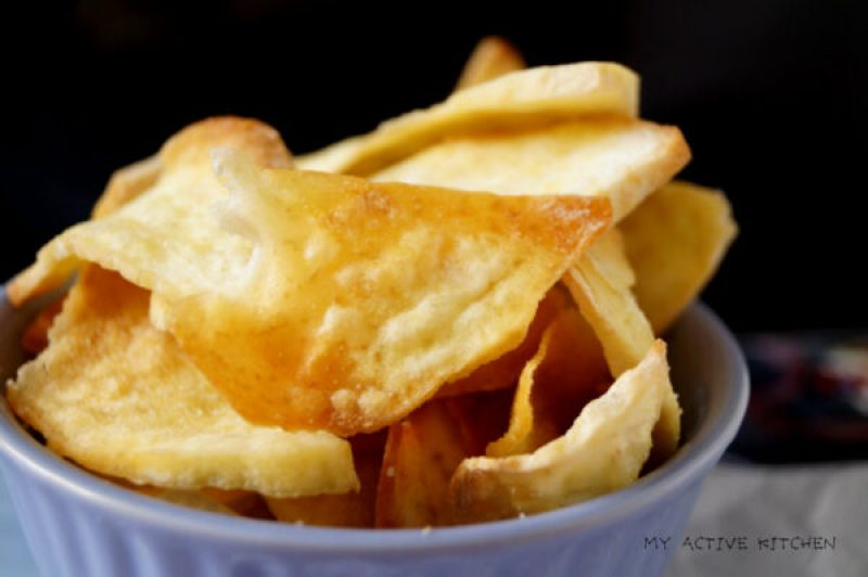 yam chips in a ramekin
