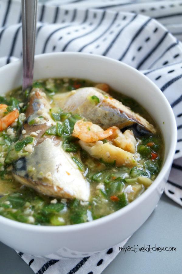 tall image okra with mackerel and prawns