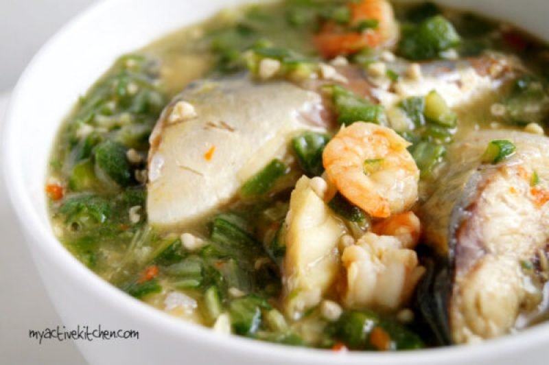 a close shot of seafood okra soup