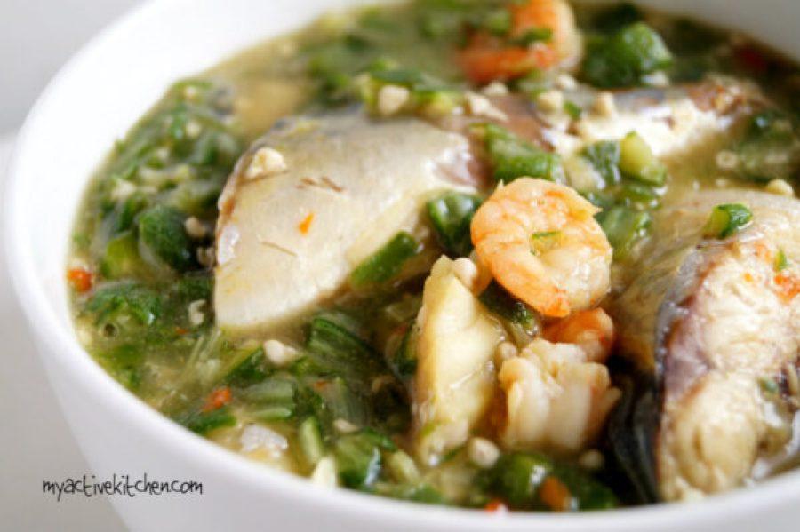 a close shot of seafood okra soup