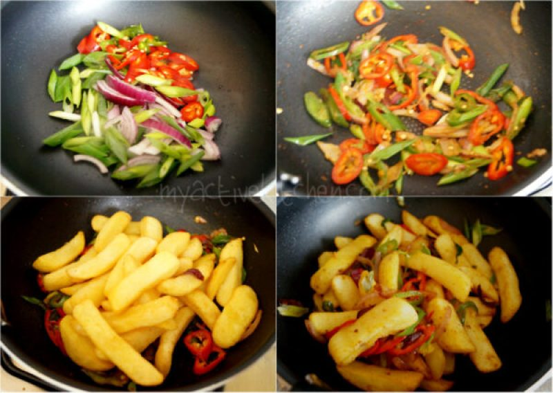 step by step guide to making salt and pepper chips.