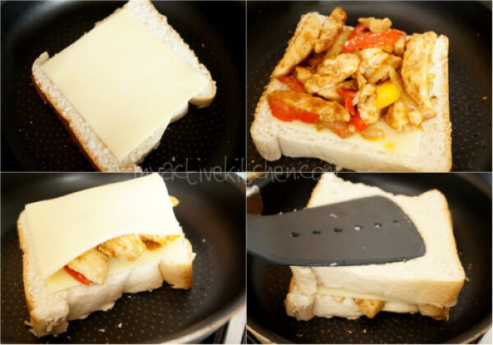 shot process of how to make cheese sandwich