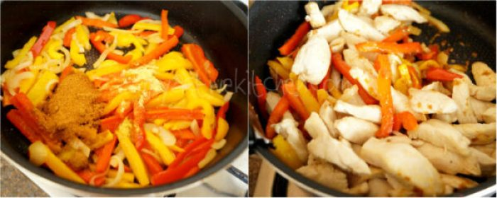 sliced bell peppers cooked in a pan