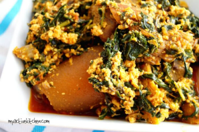 efo elegusi with ponmo