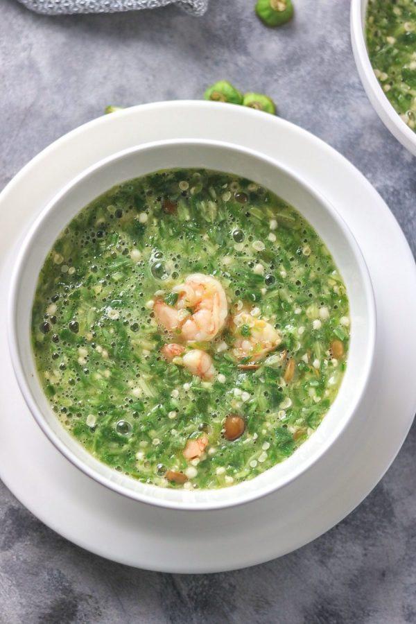 Yoruba style plain okra soup on a white plate