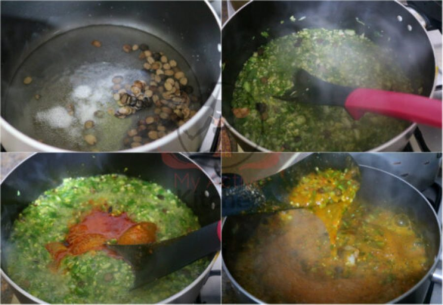 image collage of how to cook okra and stew together