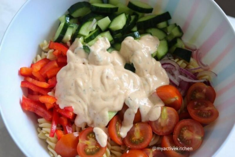 prep of vegetables with dressing