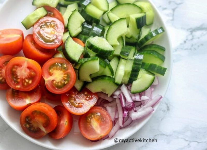 chopped tomatoes, cucumber and bell peppers