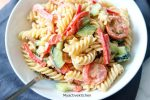 pasta salad with dressing in a bowl