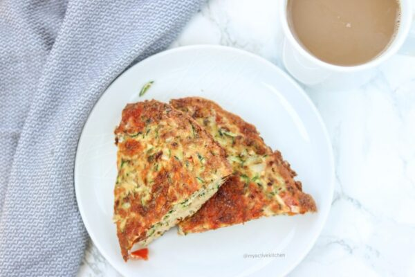 image of zucchini frittata with a cup of milky coffee