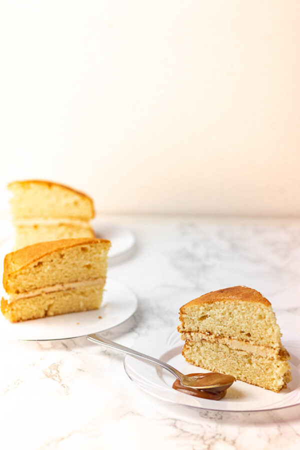 3 images of vanilla sponge cake with caramel and buttercream filling