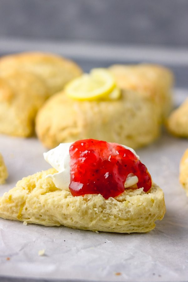 scones withe a dollop of cream and jam